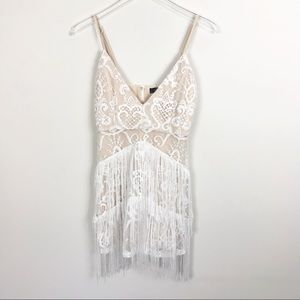 Missguided White Embroidered Lace Tassel Dress